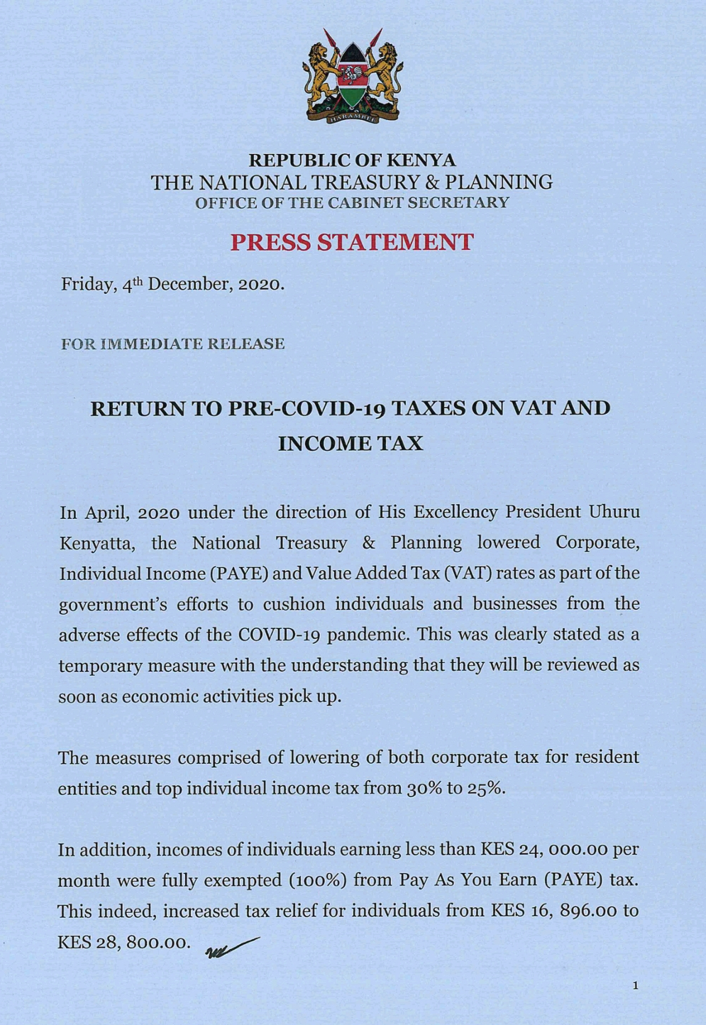 Read more about the article THE RETURN OF PRE-COVID TAXES ON VAT AND INCOME TAX